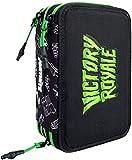 Fortnite astuccio 3 cerniere maxi, pieno di accessori, con scomparti portapenne, portacolori, portapastelli, Victory Royale, Nero Verde