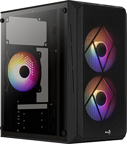 Aerocool CS107V2, Caja PC MicroATX, Ventana lateral, 3x Ventiladores 120mm FRGB