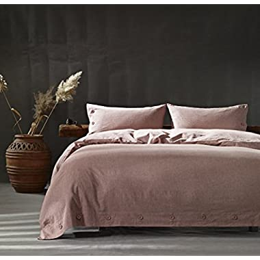 Kiss Tell Linen Cotton Queen Duvet Cover Set Soft Bedding Set Solid Color Wrinkle Count Egyptian Hotel Quality Pink