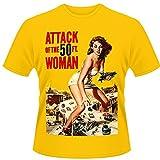 Playlogic International Attack of The 50ft Woman - Camiseta de Manga Corta para Hombre, Color Dorado, Talla Medium