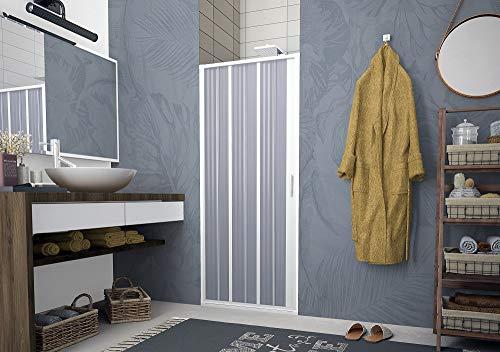 Porta doccia a pacchetto pieghevole laterale pvc bianco h.185cm box doccia MITE (170-150 cm)