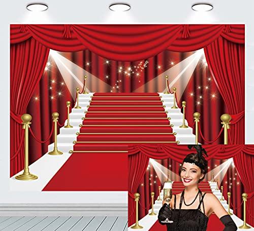 Fondo de fotografía de escenario de cortina roja película de alfombra roja cortina roja estrellas decoración de fiesta de celebridades telón de fondo