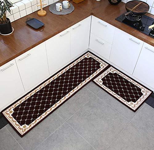 Teppichboden Küche Bodenmatte Lange Griffige Wasserabsorbierende Anti-Öl-Fußmatte Home Bad Tür Haustür Teppich,Braun,45X120+50X180cm