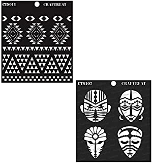 CrafTreat Stencil - Congo Mask and Aztec Borders (2 pcs) - Reusable Painting Template for Home Decor, Crafting, DIY Albums, Scrapbook and Printing on Paper, Floor, Wall, Tile, Fabric, Wood 6x6 inches