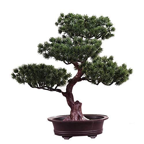 MOOUK Artificial Árbol Bonsai, Falso Planta Decoración, en Maceta Artificial Casa Plantas, Japonés Pino Bonsái Planta, para Oficina Hogar Escritorio Pantalla Feng Shui Verde Decoración