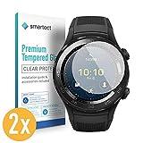 smartect Panzerglas kompatibel mit Huawei Watch 2 [2 Stück] - Bildschirmschutz mit 9H Festigkeit - Blasenfreie Schutzfolie - Anti Fingerprint Panzerglasfolie