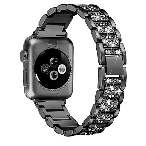 Myada Kompatibel für Apple Watch Armband 40mm Damen Metall Apple Watch Series 4 Band Edelstahl,Armbänder Apple Watch 38mm Armband Glitzer Strass Fashion Smartwatch Ersatzband für Apple Watch 40mm 38mm