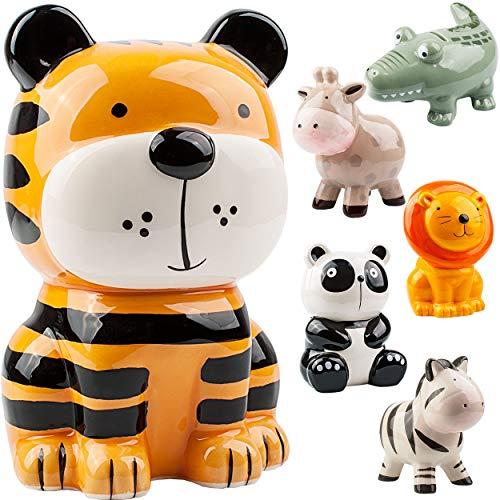 alles-meine.de GmbH große XL Spardose - lustige Tiere - stabile Sparbüchse - aus Porzellan / Keramik - mit Verschluss - 18 cm - Sparschwein - für Kinder & Erwachsene / lustig wit..