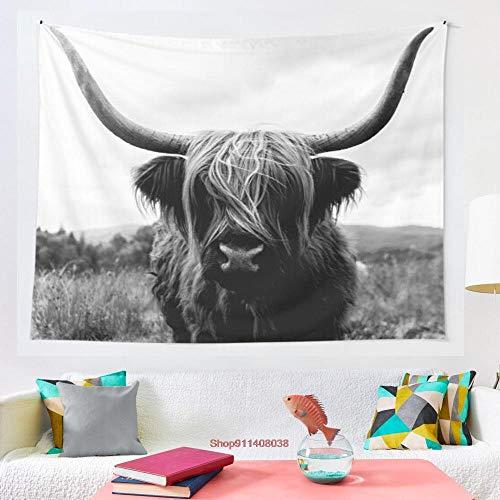 Tapiz de fotografía de animales escoceses de las tierras altas, blanco y negro, para colgar en la pared, para decoración de sala de estar