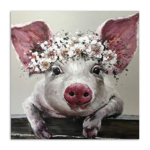 Abstrakte Leinwand Malerei Tier Bild Schwein Poster Drucke Wandkunst Bild Drucke Wohnzimmer Dekorativ-50x50cmx1 Stück kein Rahmen