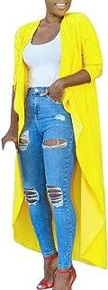 Fashion Womens Solid Shawl Kimono Cardigan Top Long Cover Up Blouse Beachwear (XL, Yellow)