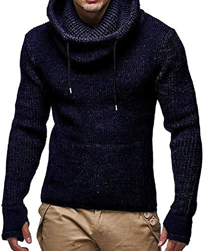BKWL Men Turtleneck Autumn Winter Christmas Knitted Plain Thicken Pullover Sweaters,Navy Blue,Large