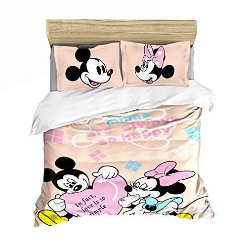 WTTING - Parure da letto Topolino & Minnie, copripiumino Disney con stampa digitale 3D, per bambini e bambine, taglia unica 135 x 200 cm
