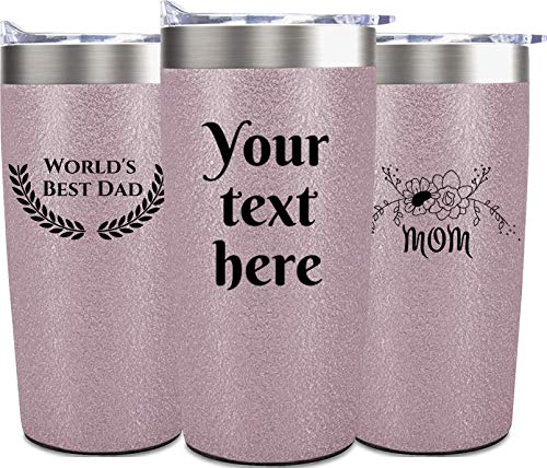 Personalized Stainless Steel Travel Coffee Tumbler - 20 Oz - Custom Print Reusable Himalayan Tumblers - Thermal Vacuum Insulated Spill Proof Drinking Cup - Hot or Cold Drink for 6 Hour (Rose Gold)