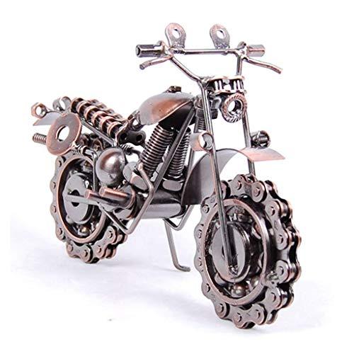 DFJU Motocicleta de Ferro Modelo de Motocicleta de Metal Criativo Enfeites de decoração para casa Brinquedos de escritório/lembranças de competição (Cor: latão, Tamanho: 19 * 8 * 15 cm)