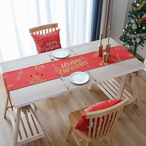 MORFONG Kerstmis tafelloper, rood groen kerstmis tafelkleed afwasbaar eettafel loper decoratieve kerstmis tafeldecoratie