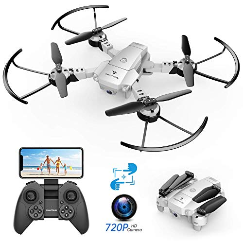 SNAPTAIN A10 Mini Foldable Drone with 720P HD Camera FPV WiFi RC Quadcopter w/Voice Control, Gesture Control, Trajectory Flight, Circle Fly,...