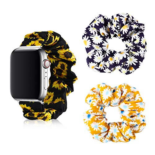 WATINC Sunflower Scrunchie Elastic Watch Band for 38mm 40mm Apple Watch Compatible with iWatch Series 5/4/3/2/1, Include 2 Pcs Sunflower Chiffon Hair Scrunchies Bobbles for Girls Women Lady