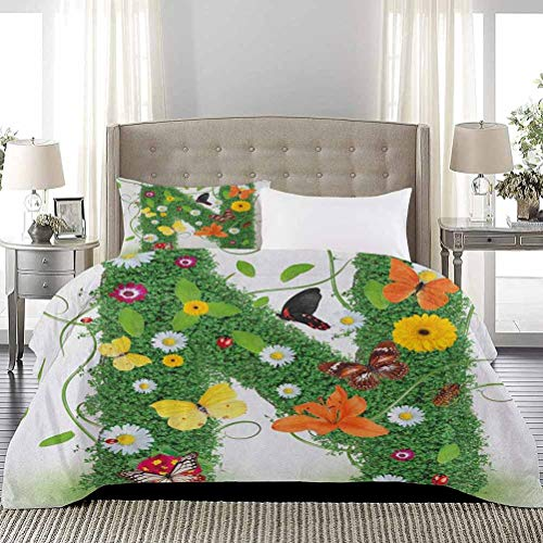 UNOSEKS LANZON Bedding Sets Chamomile Daisy a Blooms and Green Leaves Colorful Butterflies Nature Print Comfy Bedding Pet Hair Has Not Clinging to It Green Multicolor, Full Size