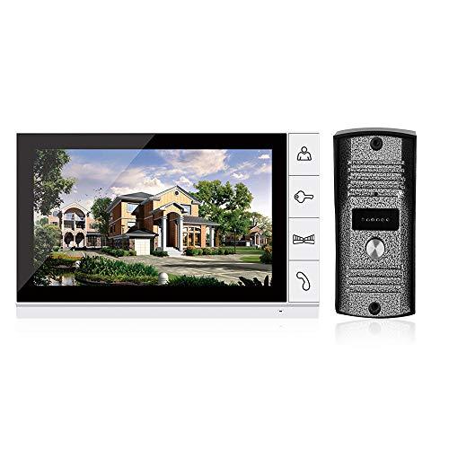 OWSOO Visiophone-9 Pouces LCD Couleur Vidéo Porte Interphone Système Sonnette Vidéo sans Fil avec Vision Nocturne Kit de Caméra IR Vision Nocturne Caméra Porte Bell pour Appartement Maison