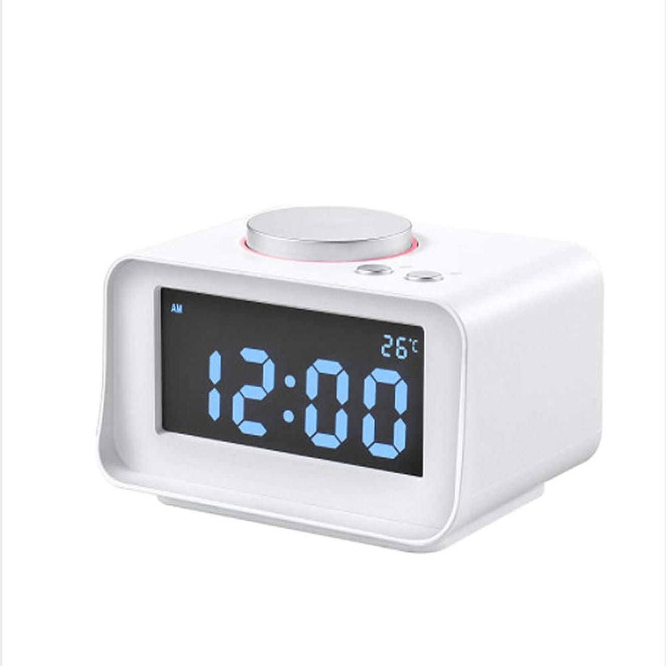 ゴシップ会社当社多機能デジタルの目覚まし時計、無線ブルートゥースのスピーカーの目覚し時計は表示夜ライト温度の居眠りの充満、電池の二重使用を導きました,White