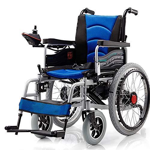 FC-LY Silla de Ruedas eléctrica Plegable, Scooter de Silla de Ruedas portátil sin Deslizamiento para Ancianos, al Aire Libre All Terreno Poder motorizado Sillas de Ruedas,Azul