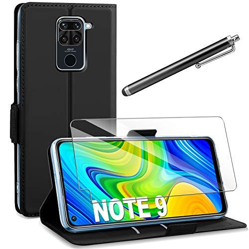 AROYI Cover Xiaomi Redmi Note 9 Nero+HD Pellicola Protettiva,Custodia Flip Portafoglio in PU Pelle Libro con Slot Schede Pieghevole 360...