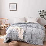 Roore Faux Fur Duvet Cover | Luxury Fluffy Plush Shaggy Soft Duvet Cover Comforter 1 Piece Set (Gray Ombre, King)