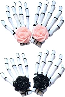 Lurrose 4pcs Skull Claw Hairpins Rose Hair Clip Skeleton Hand Bone Claw Punk Headdress for Women Girls 2pcs for each color