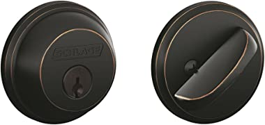 Schlage B60N716 Deadbolt, Keyed 1 Side, Aged Bronze