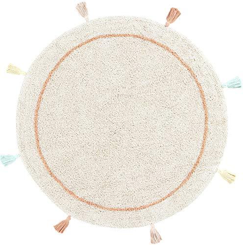 Happy Decor Kids - Alfombra Lavable Colored Sun Hecha a Mano, Alfombra Elaborada en 100% Algodón Reciclado con Borlas de Colores - Pelo Corto - 120Ø