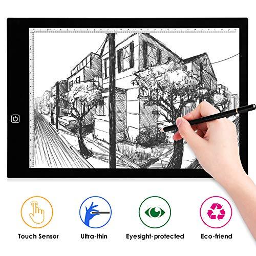 AGM Mesa de Luz Dibujo A3, LED Tableta de Luz, Dibujo De Luz Super Delgado y Brillo Ajustable con Cable USB para Dibujar, Artesanía, Bocetos, Caligrafía