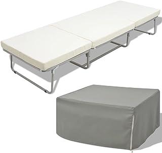 Tidyard Lit Simple Pliant/Lit d'Appoint Simple Pliant/Tabouret Pliant avec Matelas pour Camping/Chambre de Dormir 200 x 70 cm