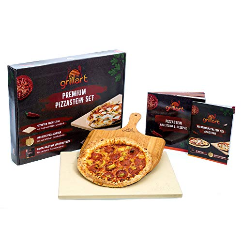 grillart® Premium Pizzastein für Gasgrill und Backofen im Set – Hochwertiger Pizzastein rechteckig inklusive Pizzaschieber und Rezeptbuch – auch optimal als Brotbackstein geeignet