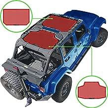 Alien Sunshade Jeep Wrangler JKU (2007-2018) – Front & Rear Mesh Sun Shade for Jeep JK Unlimited - Bikini Jkini Top Cover for Sport, Sport S, Sahara, Rubicon (Cherry Red)