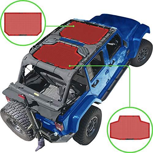 Alien parasol Jeep Wrangler 2piezas Malla sombra cubierta superior con 10años de garantía. Proporciona una protección UV para pasajeros 4puertas delantera y trasera jku (2007–2017)