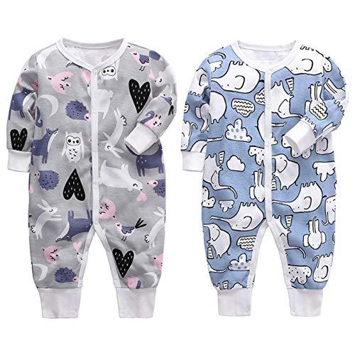 Toddmomy Juego de Pijama para Bebés para Bebés O Niñas Paquete de 2 Trajes para Dormir Y Jugar Mono de Manga Larga para Bebés Y Niños Pequeños 0-3 Meses