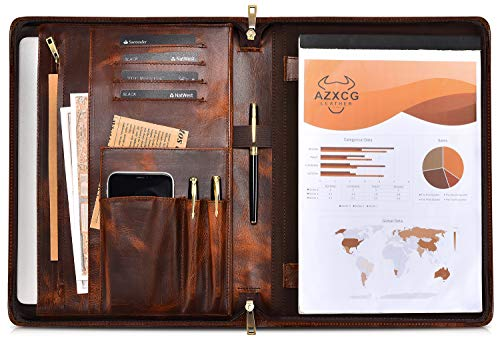 AZXCG Leather Portfolio Case, Business Tablet/Laptop Padfolio, Professional Compendium Folio for Notepad and Notebook, Zipper Resume/Meeting Document Folder (Custom, Oil Tanned Leather)