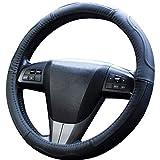 Upgrade4cars Funda Volante Coche Poli Piel Negro Universal | 37-39 cm Diámetro Exterior | Accesorios Coches Interior Decoracion | Ideas Regalos