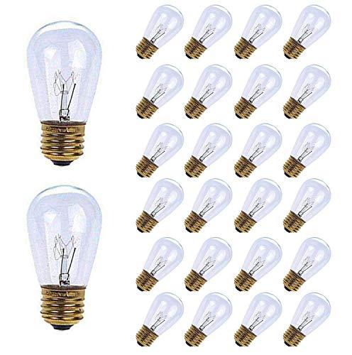 MineTom 26-Pack S14 Replacement Light Bulbs - 11 Watt Warm Incandescent Edison Light Bulbs with E26 Medium Base for Commercial Grade Outdoor Patio String Lights