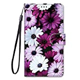 Miagon Full Body Flip PU Leder Schutzhülle für Xiaomi Redmi 9A,Bunt Muster Hülle Brieftasche Case Cover Ständer mit Kartenfächer,Lila Blume
