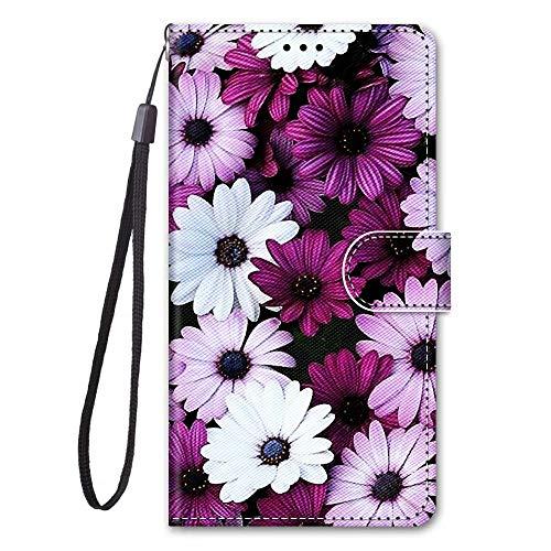 Miagon Full Body Flip PU Leder Schutzhülle für Huawei Y6 2019,Bunt Muster Hülle Brieftasche Case Cover Ständer mit Kartenfächer,Lila Blume