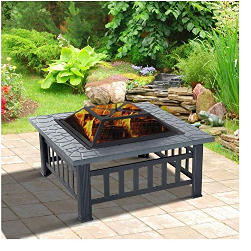 ADHW 32' Outdoor Patio Firepit Fireplace Stove Heater Metal Square Wood Burning