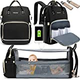 Diaper Bag Backpack, WOWTINA Baby Bag with Changing Station, Travel Backpack Diaper Bags for Baby Boy Girl, Waterproof Large Bookbag 3 in 1 Diper Bag with Bassinet Stroller Straps Dad Mom Black