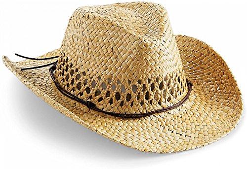 noTrash2003 Handgefertigter Cowboyhut Strohhut Sommerhut Westernhut in Einheitsgrösse mit Schweissband und Lederhutband
