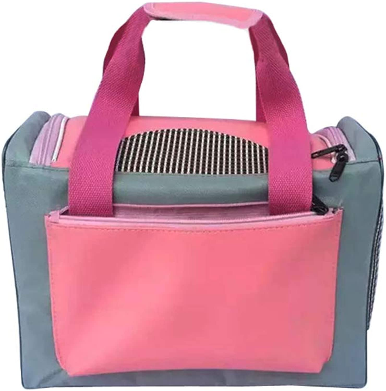 Backpacks Pet bag dog cat bag out bag car carrying backpack PU handbag pink gift (color   Pink, Size   L)