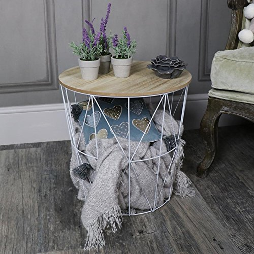 Melody Maison White Metal Wire Basket Wooden Top Side Table