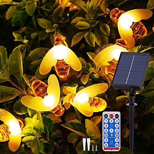 Solar Lichterkette Aussen - 13.5M 60 LED Bienen Lichterkette 8 Modi IP65 Wasserdicht Lichterkette Außen mit Fernbedienung Timer Dimmbar Lichterkette Solar für Bäume Terrasse Partys Garten(Warmweiß)