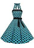Timormode – Vestido de cóctel sexy, retro, vintage, para mujer, diseño de los años 40, 50 y 60, estilo Rockabilly, con escote B- Bleu Noir B M