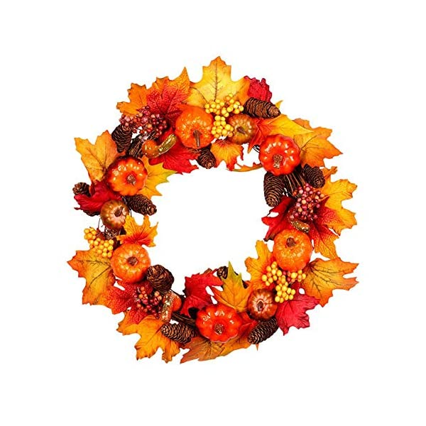 Fall Front Door Wreaths,Artificial Pumpkin Wreaths,Autumn Maple Leaf Wreaths for Halloween,Christmas,Thanksgiving Decorative Wreath